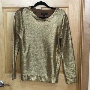 Rock & Republic gold metallic foil sweater